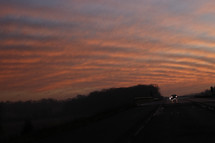 sky and highway at sunset