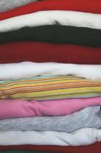 Stack of folded girls clothing