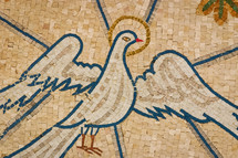 Dove mosaic near the baptism site of Jesus at the Jordan River