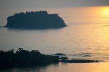 small island at sunset