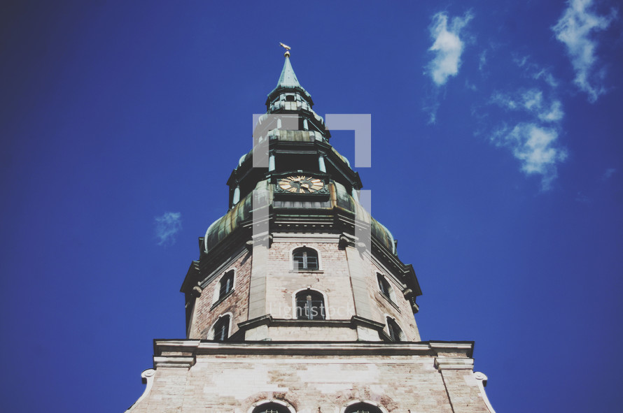 clock and bell tower on a church