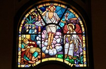 Stained glass window depicting the resurection of Christ