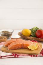 Beautiful Pink Salmon on a Slate Counter