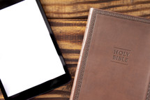 Tablet with a Bible for LIve Streaming Church Services or Bible Study
