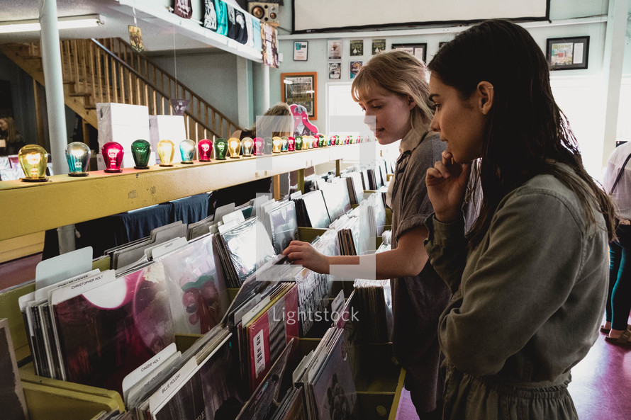 shopping at a record store