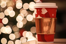 bokeh lights and a cup of hot cocoa