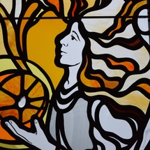 An angel stained glass window