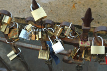 Locks placed by lovers on the Ponte Vecchio bridge in Florence