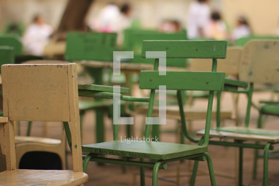 chairs in rows in a classroom