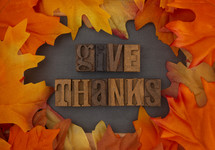 fall leaves border and give thanks