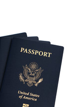 American passports on a white background