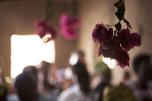 hanging flowers at a worship service