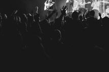 People worshipping Jesus during worship.
