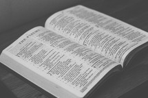 Bible open to The Psalms on a wooden table.