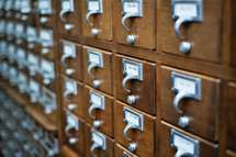 Library card catalog cabinet.
