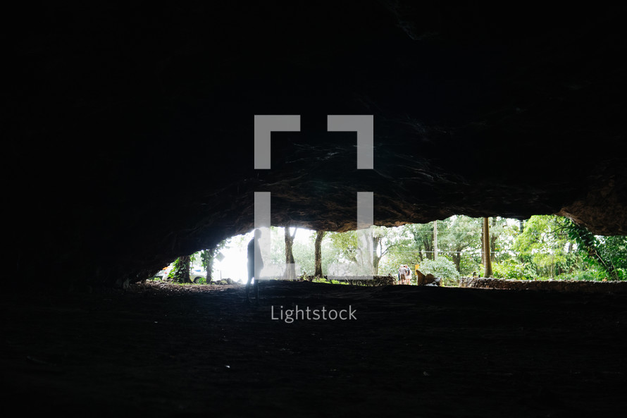 sunlight at the mouth of a cave