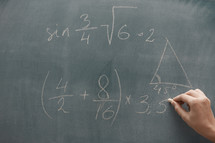 math problem on a chalkboard