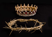 jewel studded crown and crown of thorns