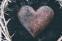 crown of thorns and wooden heart