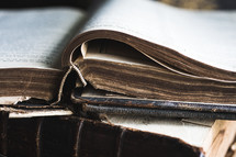 old worn open Bible