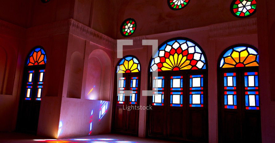 stain glass windows in a mosque in Iran