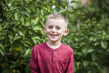 smiling boy in an apple orchard