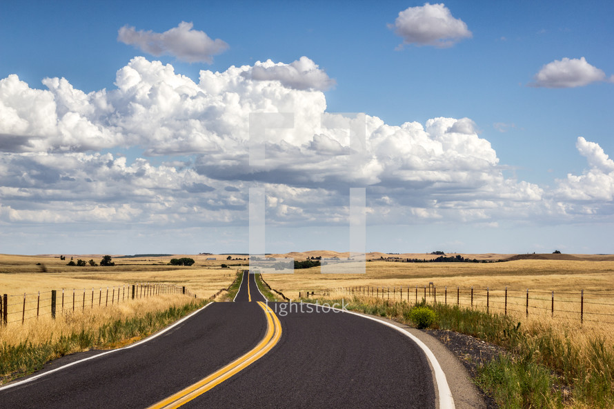rural highway stretches through the countryside