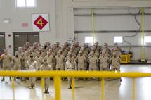 marines in formation at military graduation (USMC)