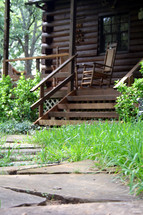 rocking chairs on cabin front porch