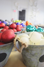 buckets of ornaments