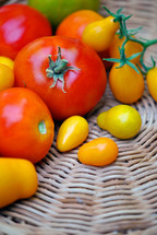 Bountiful harvest of tomatoes from the garden.