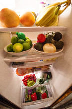 fruit and vegetables in a refrigerator