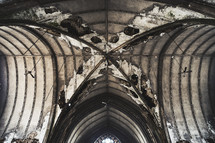 Deteriorating ceiling of an abandoned church.
