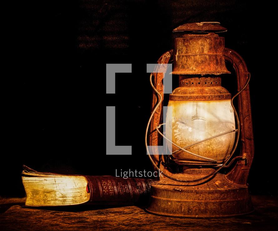 A lantern and a book