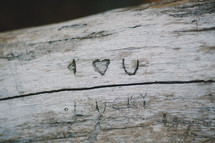 I heart you carved in  wood