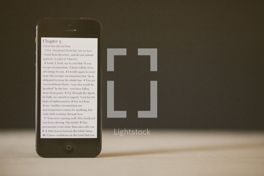 Galatians 5 scripture on the screen of a smart phone.
