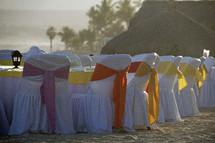 Chairs at a beach banquet