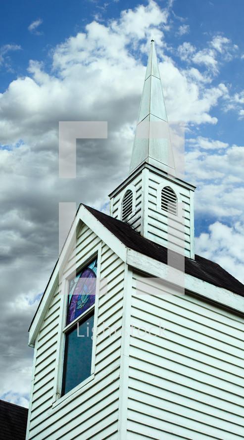 white church steeple