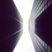 sky between two skyscrapers