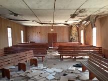 storm damaged church
