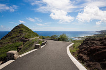 scenic road along a shoreline in Hawaii
