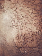 weathered old map