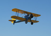 double wing aircraft in flight. Biplane.