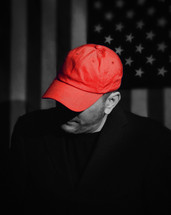 man in a red hat