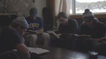 group of young men at a Bible study