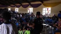 worship music inside a church during a mission trip