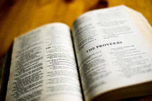 Open Bible in book of Proverbs
