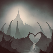 man crossing over a heart shaped bridge in an eery forest