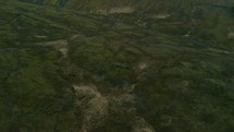 aerial view over a green landscape
