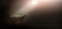 beam of light shining on the Manger